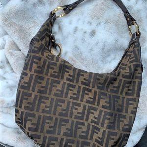 Fendi zucca hobo purse bag